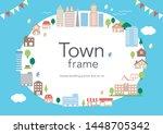 building house school town frame   Shutterstock .eps vector #1448705342