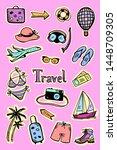 travel stickers set  vector... | Shutterstock .eps vector #1448709305