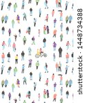 pattern with  crowd of people... | Shutterstock .eps vector #1448734388