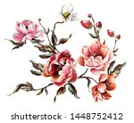 elements of peony flower with... | Shutterstock .eps vector #1448752412