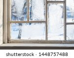 Old Wooden Window With Winter...