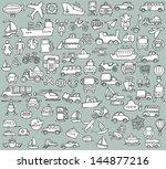big doodled transportation... | Shutterstock .eps vector #144877216