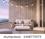 Wooden Balcony With Mountain...