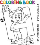 coloring book boy and pets by...   Shutterstock .eps vector #1448805185