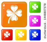 four leaf clover icons set...