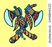 double axes old school tattoo... | Shutterstock .eps vector #1448844125