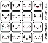 manga style eyes and mouths....   Shutterstock .eps vector #1448848118