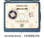 Vintage Open Reel Portable Tape Recorder in a case shot from above on white - stock photo