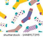 multi colored socks on a white...   Shutterstock .eps vector #1448917295