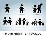 family silhouettes over blue... | Shutterstock .eps vector #144893206