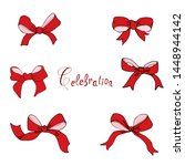 A Set Of Bows Handmade Vector...