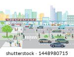 city with traffic and... | Shutterstock .eps vector #1448980715