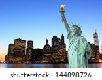 manhattan skyline and the... | Shutterstock . vector #144898726