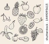 fruit varieties   hand drawn... | Shutterstock .eps vector #1449095615