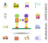 cartoon robot toy colored icon. ...