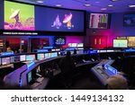 Small photo of La Canada Flintridge, CA: May 18, 2019: Inside the JPL Mission Control Center during a JPL Open House event. Jet Propulsion Laboratory is owned by NASA.