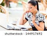 young beautiful business woman... | Shutterstock . vector #144917692