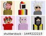 set of famous pixel art...   Shutterstock .eps vector #1449222215