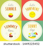 summer stickers for sunny mood  | Shutterstock .eps vector #1449225452
