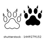 cat claw paw print simple solid ... | Shutterstock .eps vector #1449279152