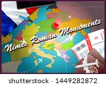 Nimes Roman Monuments city travel and tourism destination concept. France flag and Nimes Roman Monuments city on map. France travel concept map background. Tickets Planes and flights to Nimes Roman