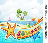 summer beach with starfish and... | Shutterstock .eps vector #144931102