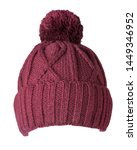 Knitted Red Hat Isolated On...
