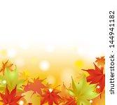 autumnal leave frame... | Shutterstock . vector #144941182