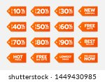 vector orange discount tags ...
