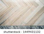 Stock photo interior floor m herring bone marble floor with white carrara marble trim 1449431132