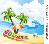 summer beach with palm trees... | Shutterstock . vector #144954472