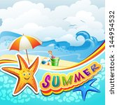 summer beach with starfish and... | Shutterstock . vector #144954532