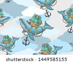 Seamless Pattern Flying Whale...