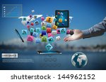 technology in the hands of... | Shutterstock . vector #144962152