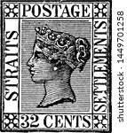 Straits Settlements 32 Cents Stamp in 1868, vintage illustration.