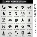 map navigator icons black... | Shutterstock .eps vector #144975022