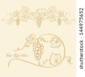 decorative grapes   vine vector ... | Shutterstock .eps vector #144975652