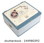 Vintage Open Reel Portable Tape Recorder in a case on white background with clipping path - stock photo