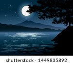 Bright Moonlight At River With...