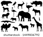 Stock vector set silhouette standing african animals a collection of various animals of africa vector 1449836792