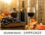 Grapes Harvest. Vintage Wooden...
