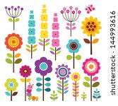 set of retro style flowers and... | Shutterstock . vector #144993616