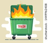 the trash can is burning.... | Shutterstock .eps vector #1449962408