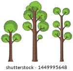 set of 3 green cartoon trees...   Shutterstock .eps vector #1449995648
