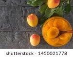 wooden spoon of dark wood in a... | Shutterstock . vector #1450021778