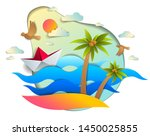 origami paper ship toy swimming ... | Shutterstock .eps vector #1450025855