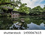 Jichang Garden in Wuxi, China. Typical southern Chinese garden architecture