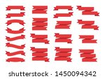 set of red ribbons banners on... | Shutterstock .eps vector #1450094342