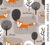 foxes and trees  hand drawn... | Shutterstock .eps vector #1450114115