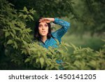 curious jealous woman spying... | Shutterstock . vector #1450141205